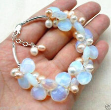 Fashion Handmade Fire Opal Opalite Natural Pink Pearl Bangle Bracelet