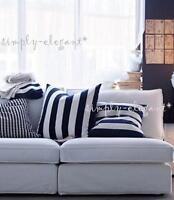 "Set of 2 Vargyllen Cushion Covers 20x20"" Deco White Black Striped Pillow Covers"