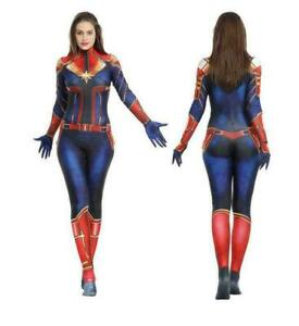 Adult and Child Costume Halloween Party Costume Dress Female Captain Marvel 2021