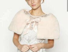 BRAND NEW!! No. 1 Jenny Packham - Pale pink faux fur bow shrug, One Size