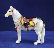 Enameled Pewter Bejeweled White Horse Trinket Box with Treasure Inside