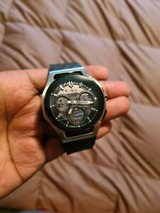 Bulova CURV Chronograph Dark Grey Dial Black Rubber Strap Watch 98A161