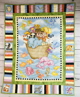 "QUILTED NOAH'S ARK Wall Hanging For Nursery 41x33"" Looks New! Wall Quilt Blanket"