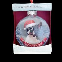 "Santa Paws Glass Baubles French Bulldog Dog Ornament Christmas Heraldry 3"" Small"