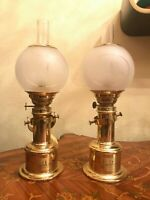 2 Danish Vintage Brass Maritime Fyrskib XXI Table & Wall Kerosene Ship Lamps