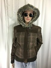 FOX GIRLS RACING wool plaid faux fur hoodie/jacket zipper . Small S