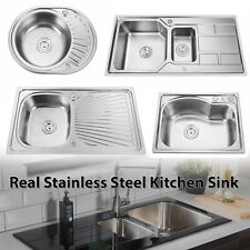 Stainless Steel Kitchen Sink Commercial Catering Single Double Bowl Drainer Kit