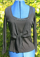 Debenhams strappy top & tie chiffon long sleeve cardigan with sequins size 14