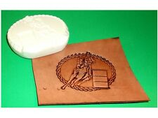 "Rodeo Barrel Racer Medallion Leather Emboss Plate 3 1/4"" x 2 1/2"""