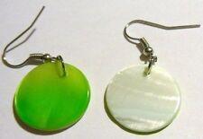 boucles d'oreilles percées bijou rétro pastille nacre véritable blanc vert *4624