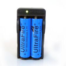 2pcs 5000mAh Rechargeable 18650 Battery 3.7V Li-ion Batteries +1pc Dual Charger