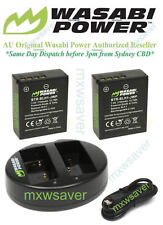 Wasabi 1720mAh Battery x 2& Dual USB Charger for OLYMPUS BLH-1,OM-D E-M1 MARK II