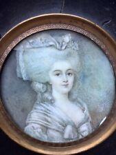 Portrait miniature femme Empire Début XIX ème