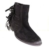 Kenneth Cole Reaction Black Suede Ankle Boots Size 8.5 Womens Fringe Booties Raw