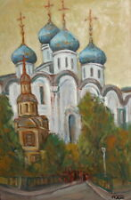 Fauvist oil painting cityscape church signed