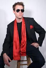 Dashing Red Silk Aviator Scarf and Pocket Square set by Royal Silk®