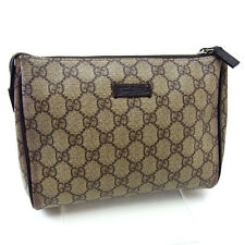 Gucci Pouch Bag Beige Brown Woman Authentic Used Y2494