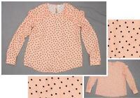 nEW Elle Women's Ruffle Long Sleeve Polka Dot Blouse Pink / Black Small