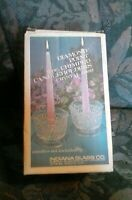 Vintage Indiana Glass Diamond Point 2pc Crimped Crystal Candle Holders 0889