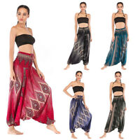 Men Women Harem Trousers Thai Boho Baggy Hippy Smock High Waist Yoga Loose Pants