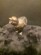 Antique 800 Sterling Silver Crystal Salt Shaker Figurine Novelty Chick