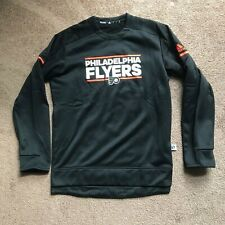 Adidas NHL Philadelphia Flyers LS Player Crew Sweatshirt Black Small D77061 NEW