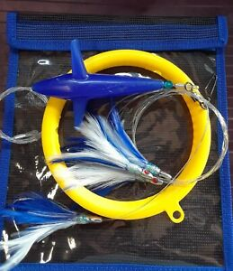 Daisy Chain Teaser with Bird - Blue/White Style Feather Rigged w/Bag -leader