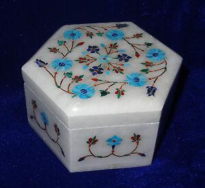 White MarbleTrinket Box Turqouise Pietra Dura Luxury Jewelry  Art black friday