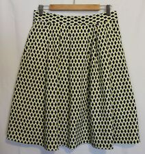 VERONIKA MAINE ~ 50s Black White Yellow Geometric Print Box Pleat Full Skirt 12