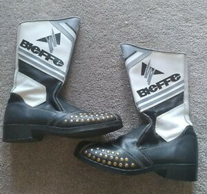 Vintage Bieffe Motorcycle Leather Racing Boots size 8 Made in Italy worn twice