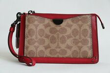 NWT COACH SIGNATURE DREAMER WRISTLET RED APPLE TAN