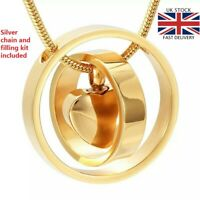 Gold Rings Keepsake Heart Cremation Urn Pendant Ashes Necklace Funeral Memorial