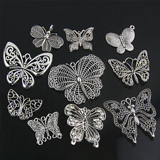 Wholesale 16pcs Tibet Silver butterfly Charm Pendant Beaded Jewelry R01