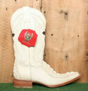 AGUILA REAL Ivory Genuine Crocodile Braided Leather Cowboy Boots MEX 26 | US 7