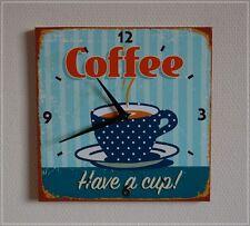 Nostalgische Wanduhr im 50er Stil Coffee Canvas Mint 28x28 NEU