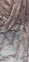 Dusty Pink Floral Chantilly Lace Fabric 58'' PRICE PER METER