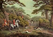 "Vintage Fox Hunting Sporting Print ""Breaking Cover"" by Samual Howitt Horses, Dog"