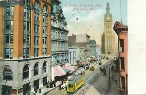 MILWAUKEE WI - East Water Street and City Hall - 1909