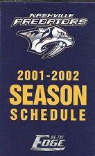 2001-02 NHL HOCKEY SCHEDULE - NASHVILLE PREDATORS