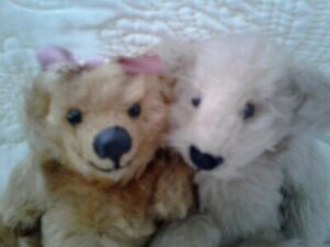 """2- VINTAGE ~~ BARELY THERE JOINTED 7""""   TEDDY BEAR"""