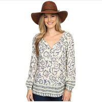 Lucky Brand Paisley Print Peasant Boho Long Sleeve Blouse Women's Size Large