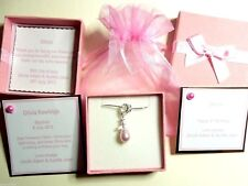 Guardian Angel Necklace Bridesmaid Christening made with Swarovski Pearl Element