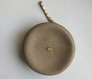 Eric Javits Round Metallic Wristlet Gold Straw New