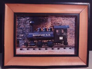 """ROCKPORT MAINE TRAIN ENGINE! HISTORY VINTAGE POSTCARD 4""""x6"""" UNUSED AND FRAMED"""