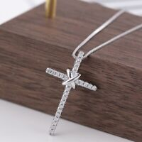 Women's Fashion Jewelry 925 Sterling Silver Cross Necklace For Christmas Gifts