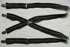 Braces Suspenders MENS Vintage Retro 1970s 1980s Navy Blue Burgundy Striped