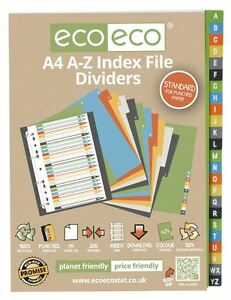 1 Set x 24pk eco-eco A4 50% Recycled A-Z Index File Folder Plastic Dividers