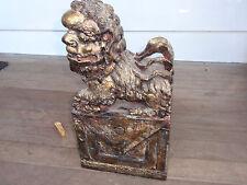 """Antique/Vintage Hand Carved Wooden Foo Dog/Lion 16.5"""" X 8.5"""" X 4.75"""""""