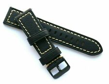 22mm Black Oily Cowhide Leather Black Buckle Replacement Watch Band - Glycine 22