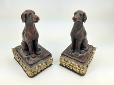 Labrador Retriever Dog Book Ends - Painted Resin - Dark Red with Gold tone base